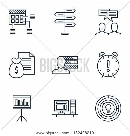 Set Of Project Management Icons On Presentation, Personal Skills And Opportunity Topics. Editable Ve