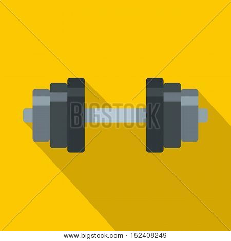 Barbell icon. Flat illustration of barbell vector icon for web isolated on yellow background