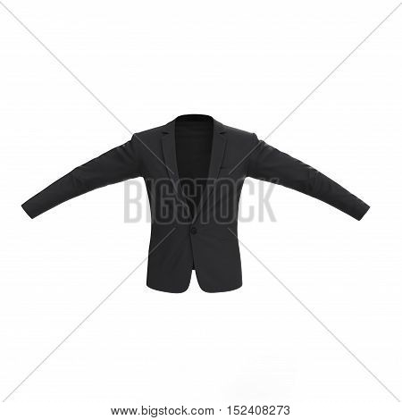 Front view mens jacket isolated on white background. 3D illustration