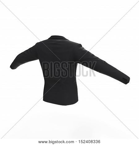 Rear view men's isolated jacket on white background. 3D illustration