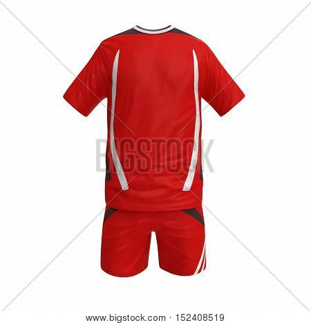 Front view T-shirt , shorts, soccer uniform, isolated on white background. 3D illustration