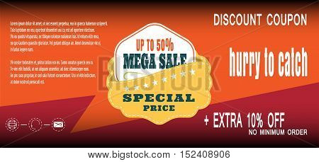 Discount coupon for sale promotion with badge vector illustration.