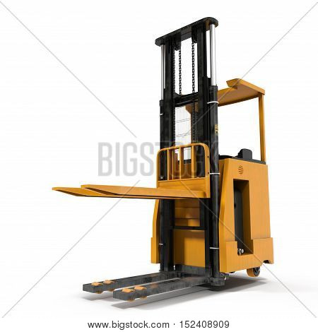 Modern forklift truck isolated on white background. 3D illustration