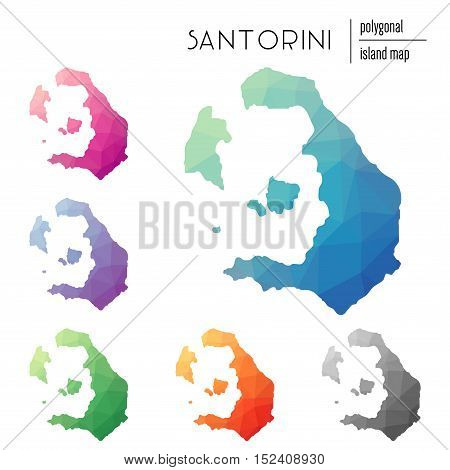 Set Of Vector Polygonal Santorini Maps Filled With Bright Gradient Of Low Poly Art. Multicolored Isl