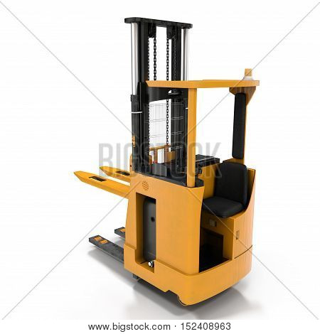 Front view of electric powered forklift isolated on white background. 3D illustration