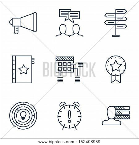Set Of Project Management Icons On Opportunity, Announcement And Discussion Topics. Editable Vector