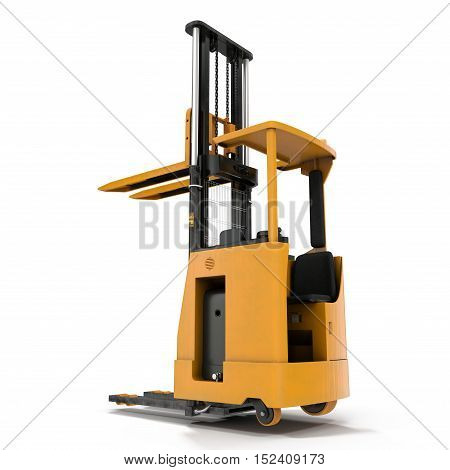 Side view of yellow Rider Stacker on white background. 3D illustration