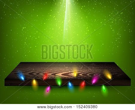 Green background with wooden shelf and Christmas garland. Vector illustration.