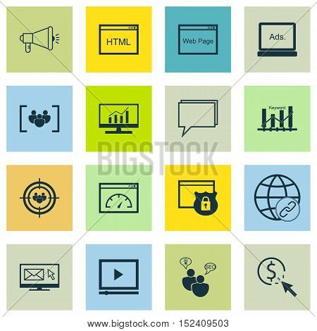 Set Of Advertising Icons On Loading Speed, Media Campaign And Focus Group Topics. Editable Vector Il
