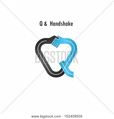 Q- letter icon abstract logo design vector template.Business offerpartnership icon.Corporate business and industrial logotype symbol.Vector illustration