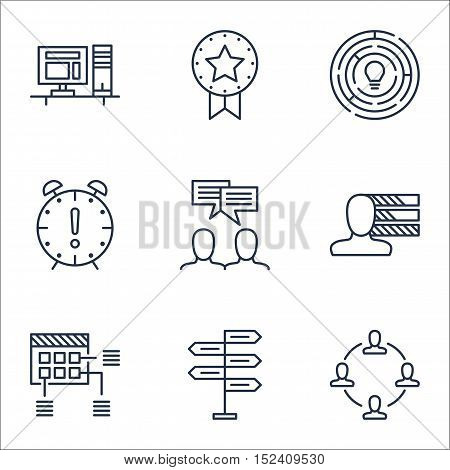 Set Of Project Management Icons On Time Management, Innovation And Computer Topics. Editable Vector