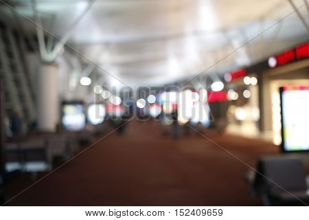 Blurry Lights Of Airport Terminal