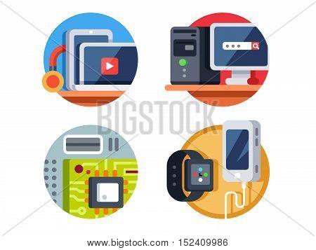 Computer device, motherboard and tablet, desktop or smartphone. Vector illustration