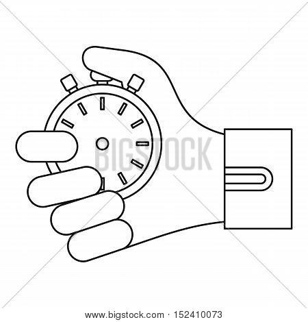 Stopwatch in hand icon. Outline illustration of stopwatch in hand vector icon for web