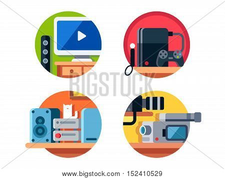 Electronics, music center, television and video game consoles. Vector illustration