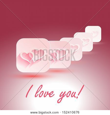 I Love You Vector stylish design. hearts with shadows for designs of wedding, invitations. EPS10