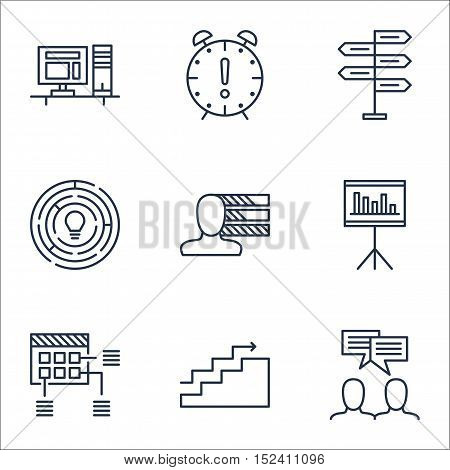Set Of Project Management Icons On Innovation, Growth And Presentation Topics. Editable Vector Illus