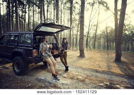 Women Friendship Hangout Traveling Camping Concept