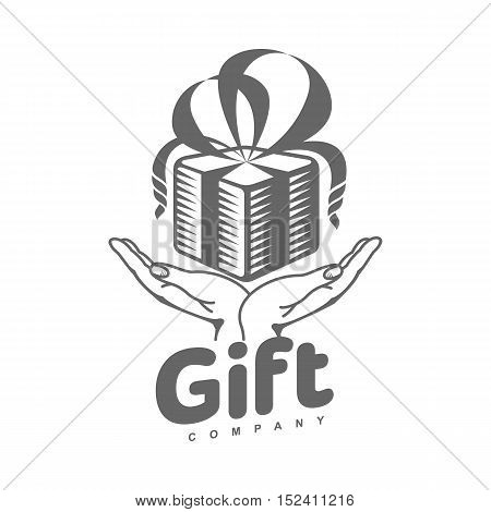 black and white graphic line art gift box logo templates, vector illustration isolated on white background. Gif box with ribbon and bow, hand offering a gift, giving a present