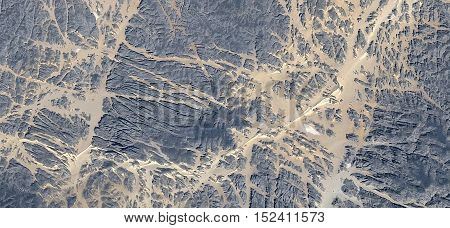 Abstract photography of landscapes of deserts of Africa from the air, ,sand river