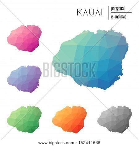 Set Of Vector Polygonal Kauai Maps Filled With Bright Gradient Of Low Poly Art. Multicolored Island