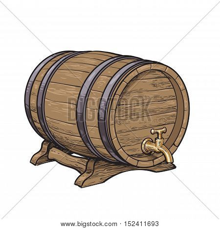 Wooden barrel with tap resting on stands, sketch style vector illustrations isolated on white background. Side view of wine, rum, beer classical wooden barrel with a tap