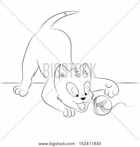 Happy cute outline playing kitten. Simple cartoon style. Page for art coloring book for kids. Vector illustration