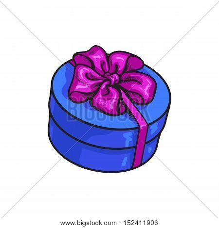 Red hand-drawn round gift box with bow and ribbon, sketch style vector illustration isolated on white background. Xmas, birthday, Valentine present, gift, surprise, decoration element