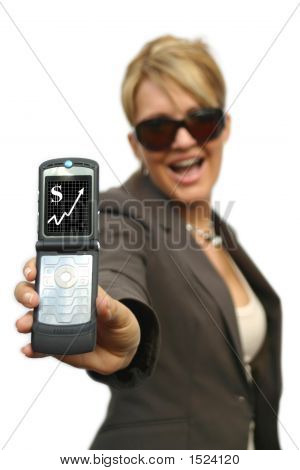 A Beautiful Business Woman With Phone - Money Display