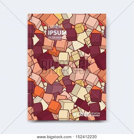 Abstract vector cubed design for cover, poster, banner, flyer, business card, magazine annual report, title page, brochure template layout or booklet .A4 size with polygons on white background.
