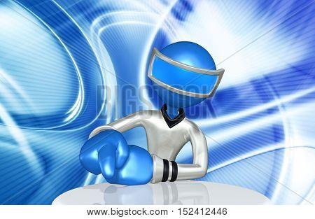 The Original 3D Character Illustration Retro Future Man