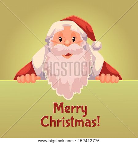 Cartoon style Santa Claus holding a sign with both hands, Christmas vector greeting card, gold background. Half length portrait of Santa holding a sign, greeting card template for Christmas eve