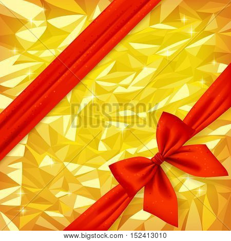 Red ribbon and bow on bright gold foil texture background. Gift package and greeting card