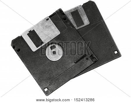 Two floppy disks isolated on white background