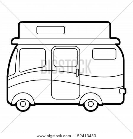 Travelling camper icon. Outline illustration of travelling camper vector icon for web design
