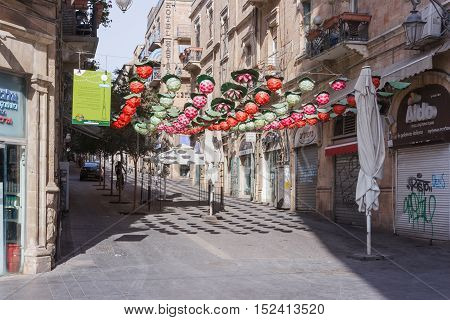 Street Hahavatselet Decorated With Colored Decorative Berries In Jerusalem, Israel