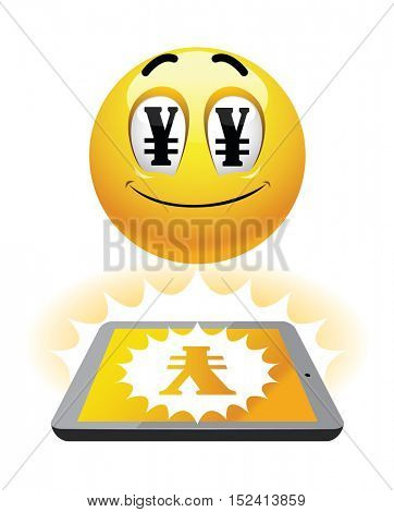 Freelance earning. Illustration of smileys earning over the net. Work from home. China,