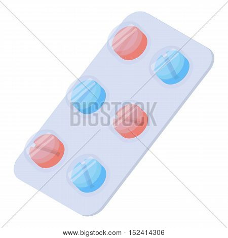 Pills icon. Isometric 3d illustration of pills vector icon for web