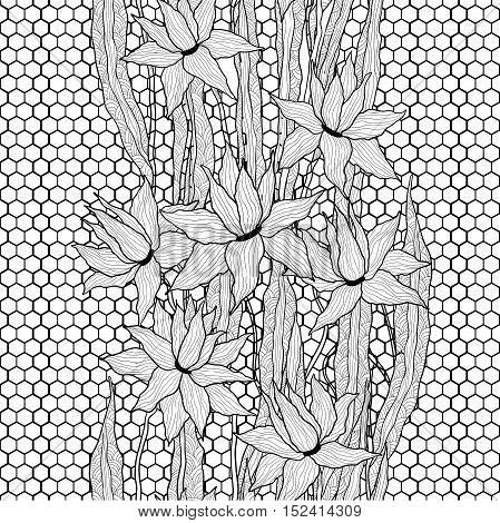 Seamless vector floral pattern. Royal lilies flowers with stylized doodle leaves on lattice lace. Black and white graphics.