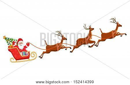 Santa Claus on Sleigh and His Reindeers Isolated on White Background. vector illustration