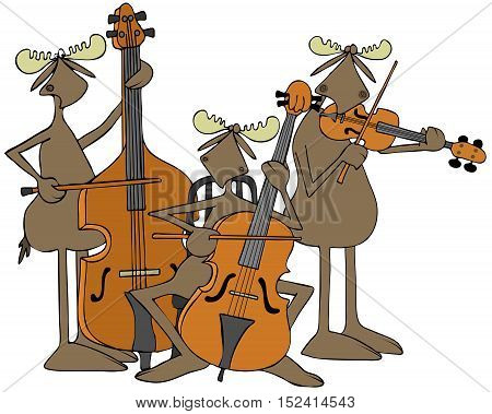 Illustration of three bull moose playing a double bass, cello and violin.