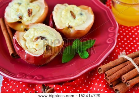 Holiday dessert - baked apples with cottage cheese raisins honey and cinnamon