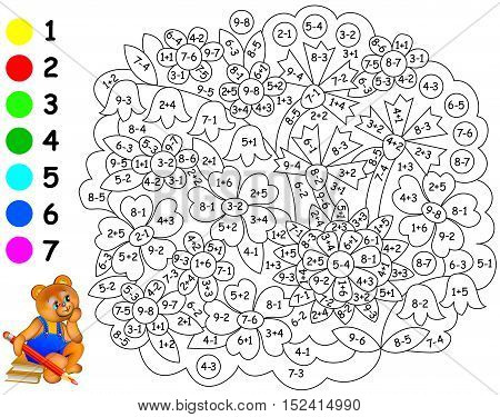 Exercises for children - needs to paint image in relevant color. Developing children skills for counting and coloring. Vector image.