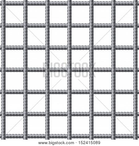 Lattice of fitting rebars. Reinforcement steel for building. Vector illustration Isolated on white background.