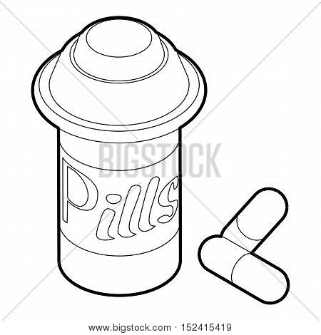 Pills in jar icon. Outline illustration of pills in jar vector icon for web