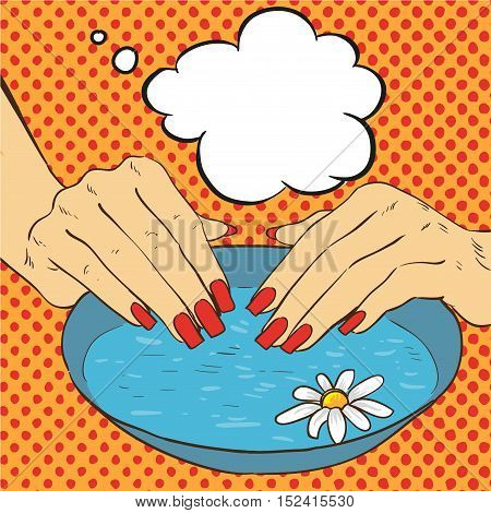 Manicure and nails care concept vector illustration in comic pop art style.