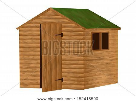 garden shed isolated on a white background