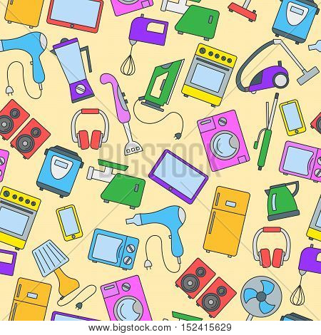 Seamless background with a simple icons on the topic of household appliances a colored icons on a yellow background