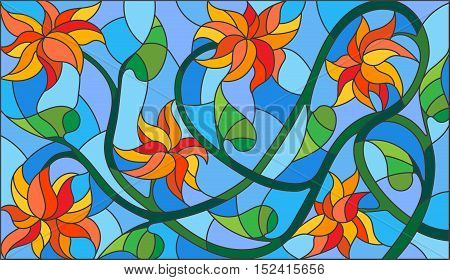 Illustration in stained glass style with abstract orange flowers on a blue backgroundhorizontal orientation
