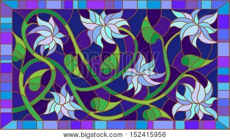 Illustration in stained glass style with abstract blue flowers on a blue background in the framehorizontal orientation